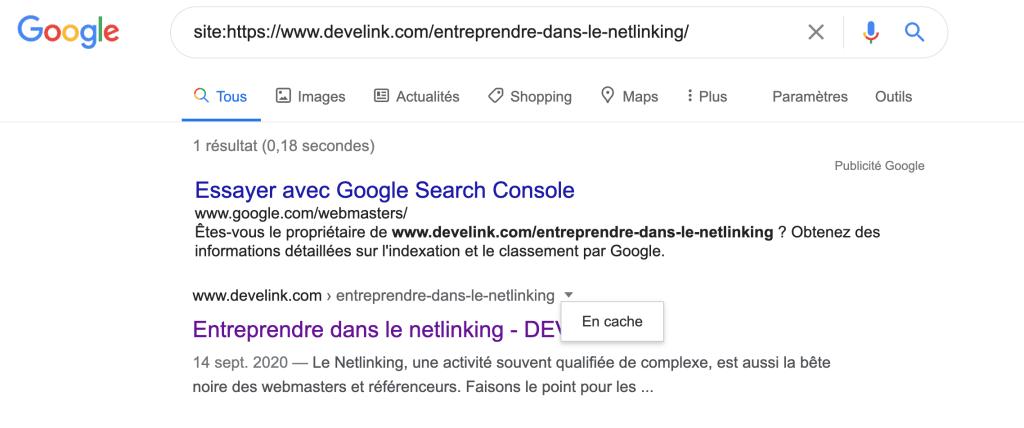 comment contrôler la prise en compte d'un lien par Google